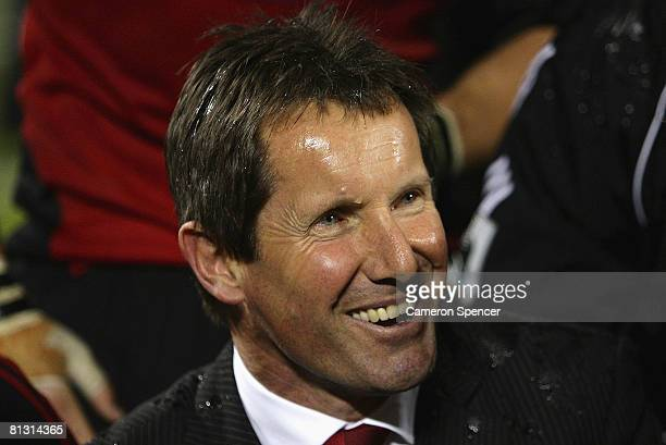 Crusaders coach Robbie Deans smiles after winning the Super 14 final match between the Crusaders and the New South Wales Waratahs at AMI Stadium on...