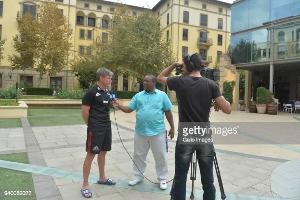 Crusaders coach Ronan O'Gara speak to ENCA sports reporter Timothy Sibanda during the Crusaders Press Conference at Southern Sun Montecasino on March...