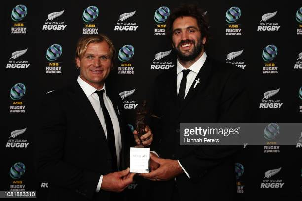 Crusaders coach Scott Robertson and Sam Whitelock pose with the Adidas National Team of the Year award during the 2018 ASB Rugby Awards at SkyCity...