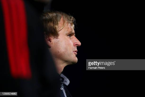 Crusaders coach Scott Robertson before the round 5 Super Rugby Aotearoa match between the Crusaders and the Blues at Orangetheory Stadium on July 11...