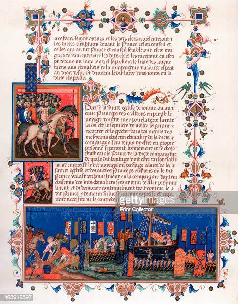 Crusaders embarking for the Holy Land 15th century Banners show the Papal arms those of the Holy Roman Emperor and the kings of England France and...