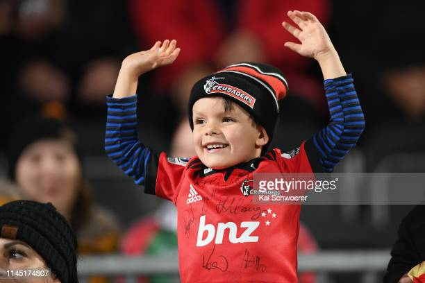 Crusaders fan shows his support prior to the round 11 Super Rugby match between the Crusaders and Lions at Christchurch Stadium on April 26 2019 in...