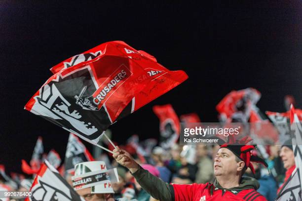 Crusaders fan shows jus support during the round 18 Super Rugby match between the Crusaders and the Highlanders at AMI Stadium on July 6 2018 in...