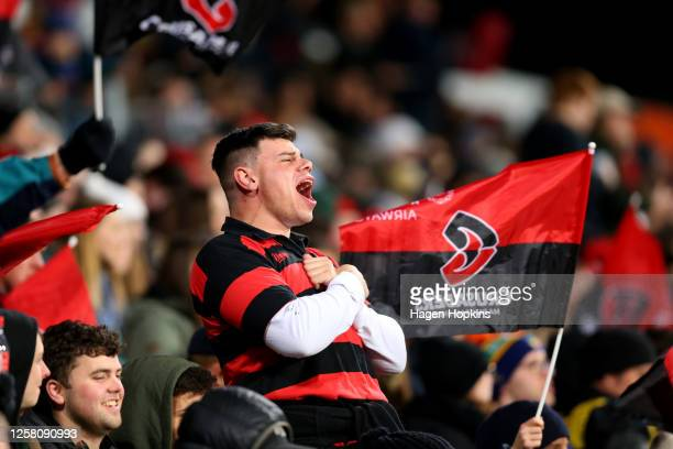 Crusaders fans show their support during the round 7 Super Rugby Aotearoa match between the Crusaders and the Hurricanes at Orangetheory Stadium on...
