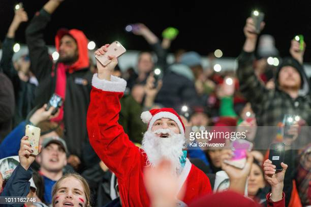 Crusaders fans show their support during the Super Rugby Final match between the Crusaders and the Lions at AMI Stadium on August 4, 2018 in...