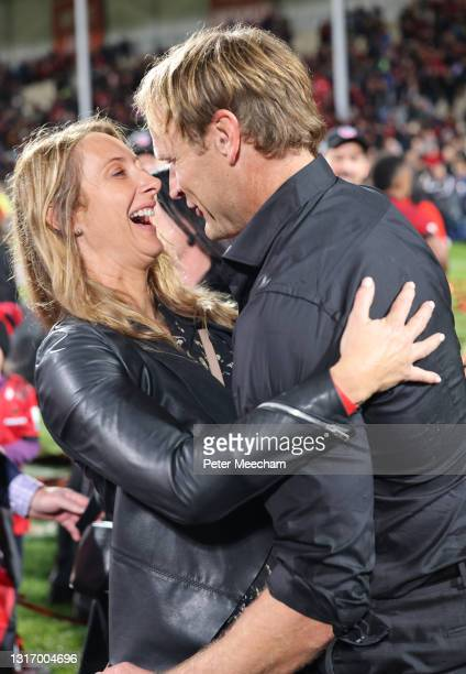 Crusaders head coach Scott Robertson with his wife Jane share a moment after the Super Rugby Aotearoa Final match between the Crusaders and the...