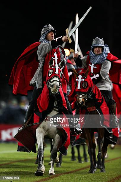 Crusaders horses are ridden around the field prior to the round 16 Super Rugby match between the Crusaders and the Hurricanes at Trafalgar Park on...
