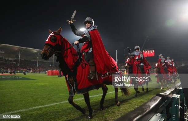 Crusaders horses provide the pre match entertainment during the match between the Crusaders and the British Irish Lions at AMI Stadium on June 10...