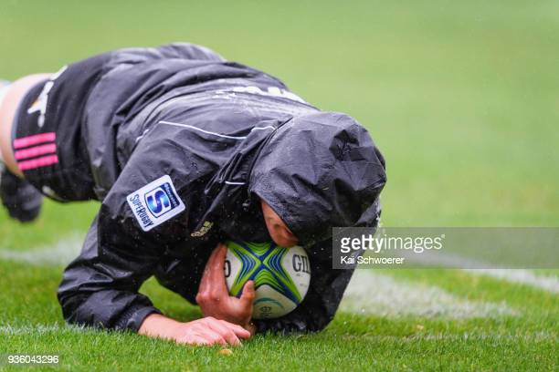 Crusaders player dives over to score a try during the Crusaders Super Rugby captain's run at AMI Stadium on March 22 2018 in Christchurch New Zealand