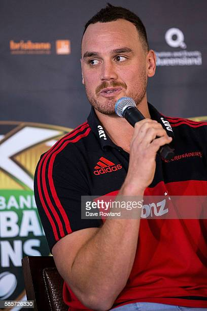 Crusaders player Israel Dagg speaks to the media during the Rugby 10's Launch at Spencer on Byron Hotel on August 4 2016 in Auckland New Zealand The...