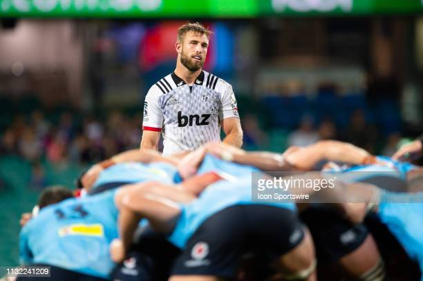 Crusaders player Quinten Strange waits behind the scrum at round 6 of Super Rugby between NSW Waratahs and Crusaders on March 23, 2019 at The Sydney...