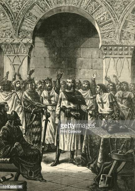 Crusaders Proclaiming Godfrey of Bouillon King of Jerusalem', 1890. Godfrey of Bouillon Frankish knight and one leader of the First Crusade became...