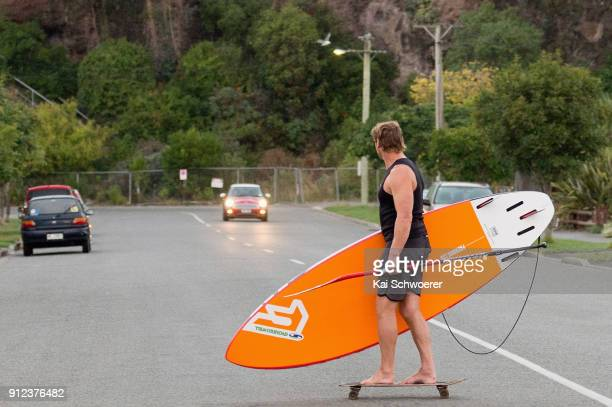 Crusaders Super Rugby coach Scott Robertson skates to a surf session at Scarborough Beach on January 31 2018 in Christchurch New Zealand Being the...