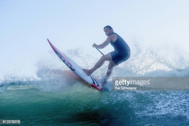 Crusaders Super Rugby coach Scott Robertson surfs at Scarborough Beach on January 31 2018 in Christchurch New Zealand Being the first person to win...