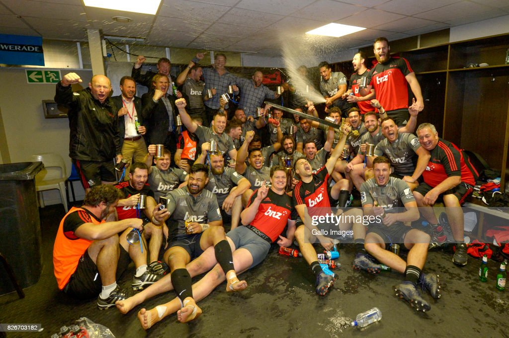 Crusaders team in the change room after they were crowned the 2017 Super Rugby champions following their win over the Lions during the Super Rugby Final match between Emirates Lions and Crusaders at Emirates Airline Park on August 05, 2017 in Johannesburg, South Africa.