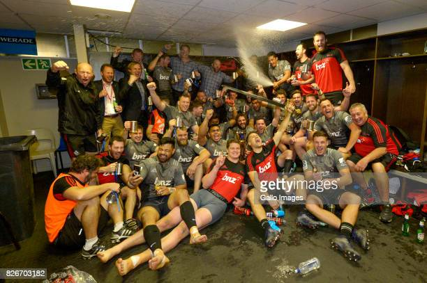 Crusaders team in the change room after they were crowned the 2017 Super Rugby champions following their win over the Lions during the Super Rugby...
