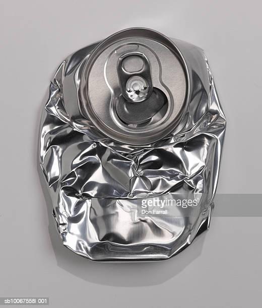 Crushed aluminium can, studio shot