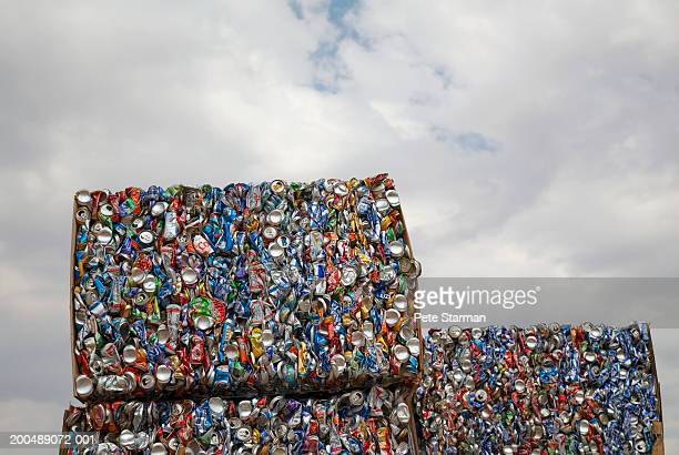 Crushed aluminium cans in recycling plant