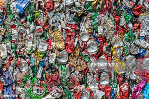 crushed beverage cans, close up, pattern, concept - recycling stock pictures, royalty-free photos & images