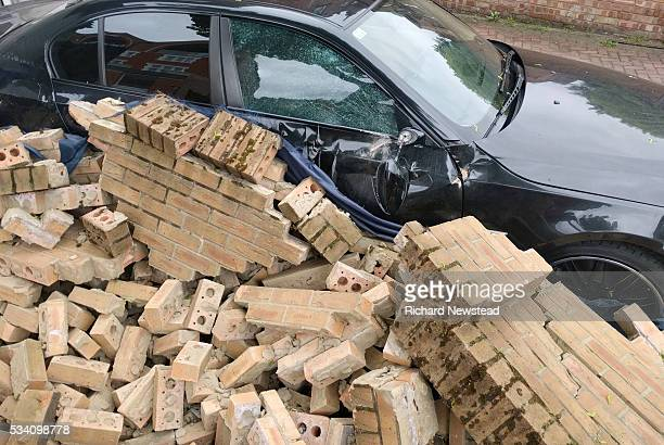 crushed car - car crash wall stock pictures, royalty-free photos & images
