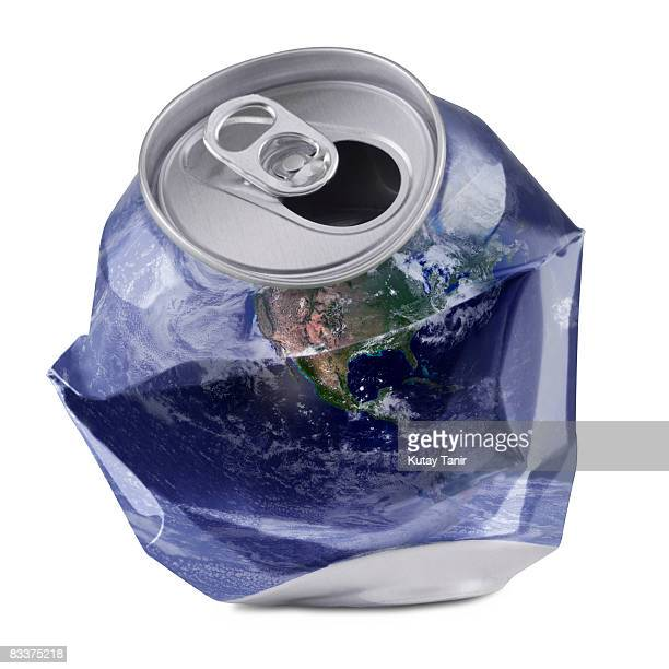 Crushed drink can with world map. (Digital composi