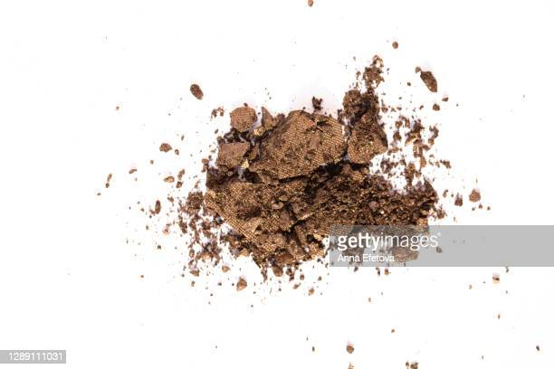 crushed eyeshadows. swatches of decorative cosmetics isolated white background. - brown stock pictures, royalty-free photos & images