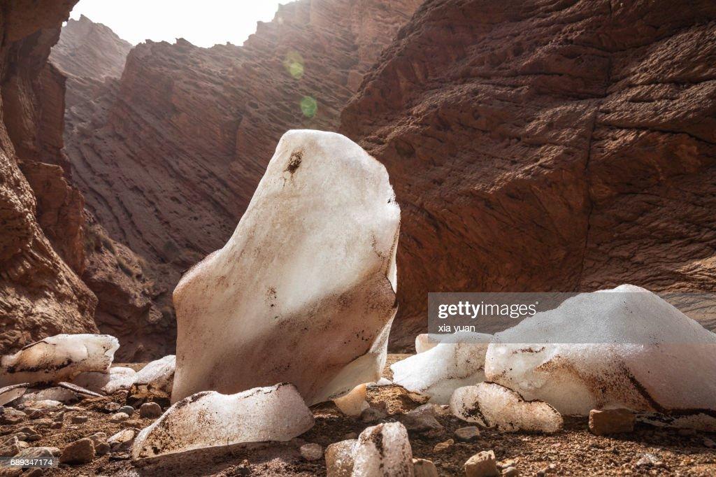 Crushed ice blocks on floor of Tianshan Mysterious Grand Canyon,Kuqa,China : Stock Photo