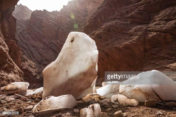 Crushed ice blocks on floor of Tianshan Mysterious Grand Canyon,Kuqa,China