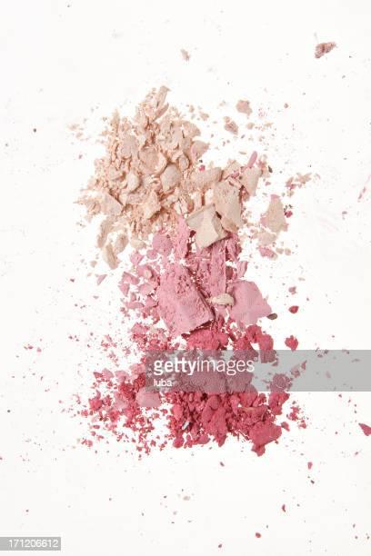 Crushed makeup powder in pink tones