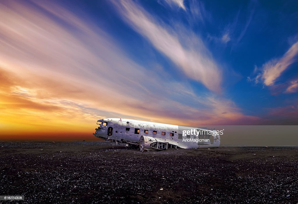 crushed plane iceland : Stock Photo