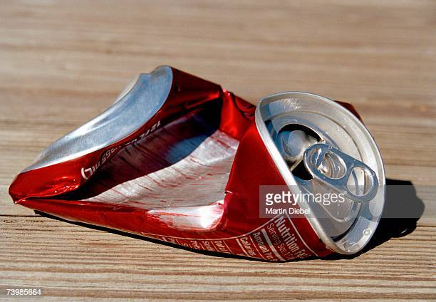 crushed soda can - crushed stock pictures, royalty-free photos & images