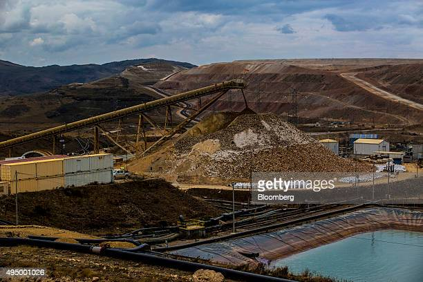 Crushed stones and mined soil of 'high fineness' are deposited in a pile before being processed at the Yanacocha gold mine in Cajamarca Peru on...