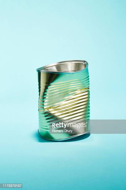 a crushed tin food can - damaged stock pictures, royalty-free photos & images