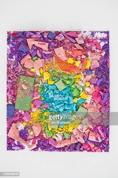 Crushed various make-up powders arranged into a square