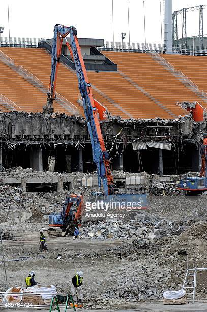 Crushers Demolitions Excavators are seen at the National Stadium in Tokyo Japan on March 10 2015 The old National olympic stadium of Tokyo Sendagaya...