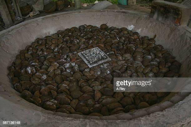 Crushing coconut shells