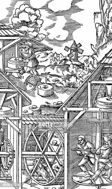 Crushing gold bearing ores in mills similar in principle to flour mills Bottom left goats in treadmill horizontal power transferred to mill A through...