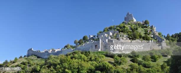 crussol castle panorama under the moon - オーヴェルニュ=ローヌ=アルプ ストックフォトと画像