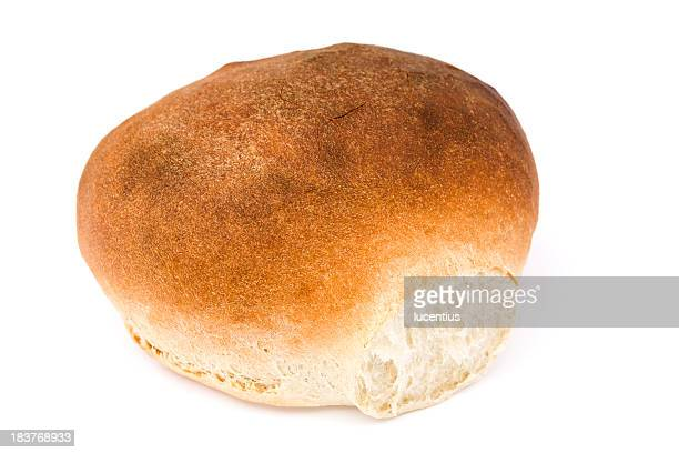 Crusty white bread isolated on white