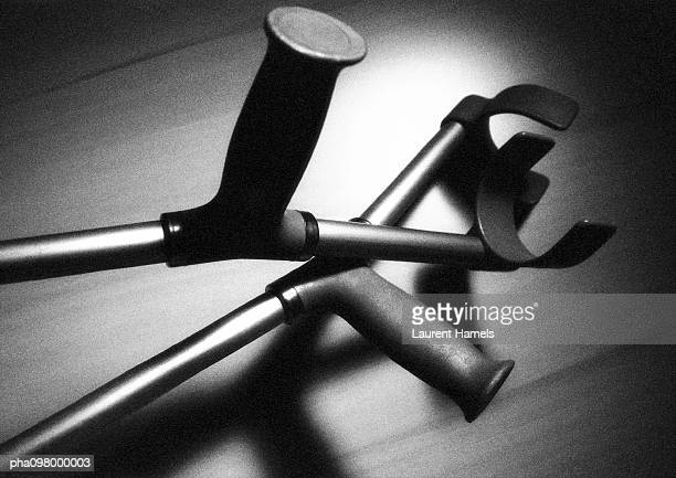 Crutches, close-up, B&W