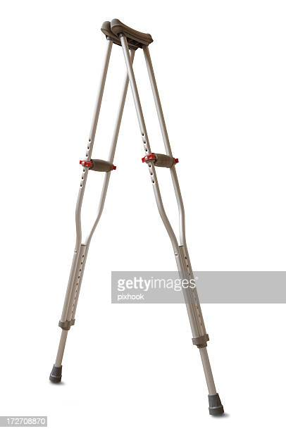 crutches with path - crutches stock photos and pictures