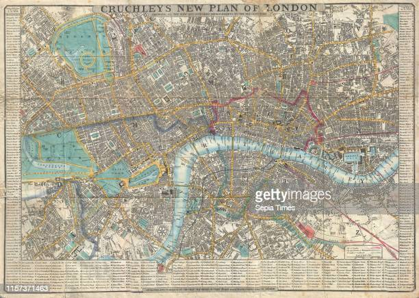 1848 Crutchley Pocket Map or Plan of London England