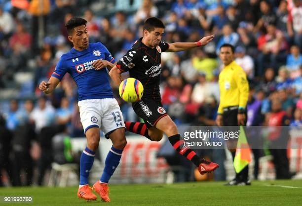 Cruz Azul's Ecuadorean forward Angel Mena vies for the ball with Tijuana's Argentinian defender Damian Perez during their Mexican Clausura tournament...