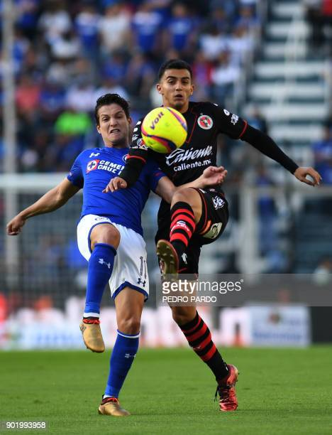 Cruz Azul's forward Carlos Fierro vies for the ball with Tijuana's midfielder Luis Chavez during their Mexican Clausura tournament football match at...