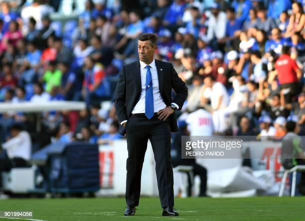 Cruz Azul's Portuguese coach Pedro Caixinha gestures during their Mexican Clausura tournament football match against Tijuana at Azul stadium in...