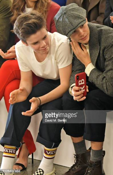 Cruz Beckham and Romeo Beckham attend the Victoria Beckham show during London Fashion Week February 2019 at Tate Britain on February 17, 2019 in...