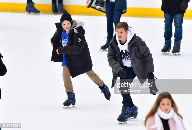 Cruz Beckham and Romeo Beckham seen ice skating at Wollman Rink in Central Park on February 10 2018 in New York City