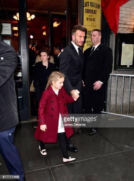 Cruz Beckham Harper Beckham and David Beckham arrive to Balthazar on February 11 2018 in New York City