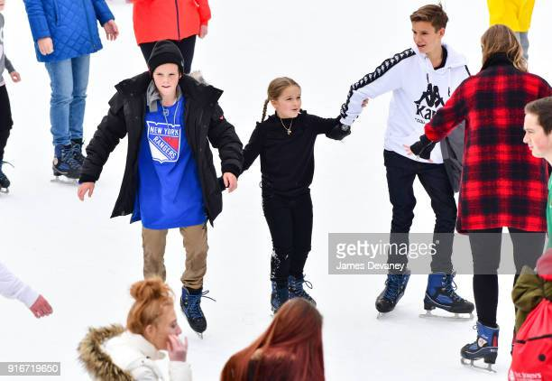 Cruz Beckham Harper Beckham and Romeo Beckham seen ice skating at Wollman Rink in Central Park on February 10 2018 in New York City