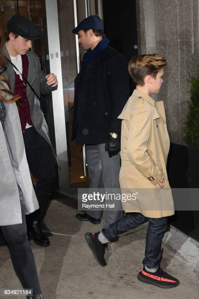 Cruz Beckham is seen in Kanye West Show walking in Mitown on February 12 2017 in New York City